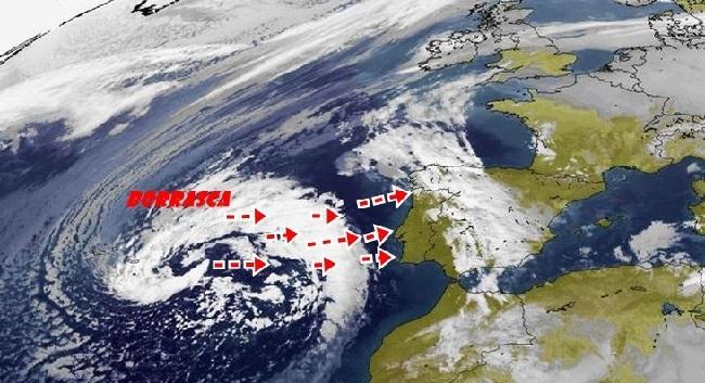 Una borrasca atlántica dejará lluvias abundantes por casi todo el país desde hoy y hasta el próximo miércoles