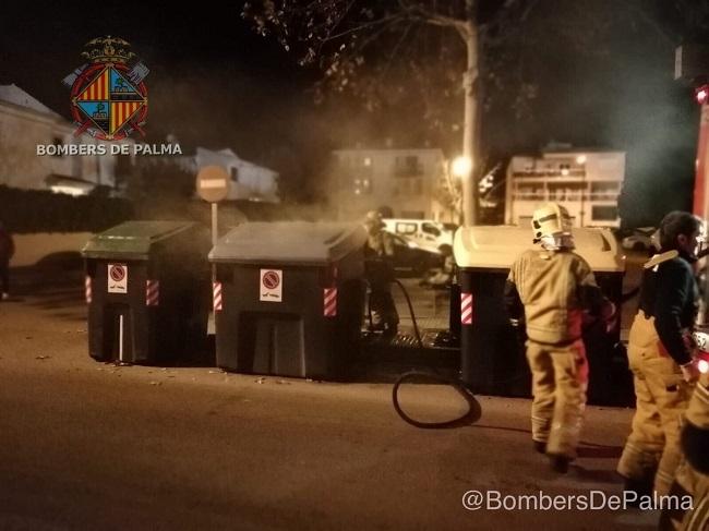 Varios contenedores de basura incendiados en 5 puntos diferentes de Palma