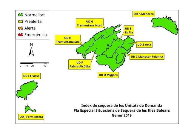 Las reservas hídricas caen un 4% de media en les Illes Balears después de un enero desigual en términos de precipitaciones