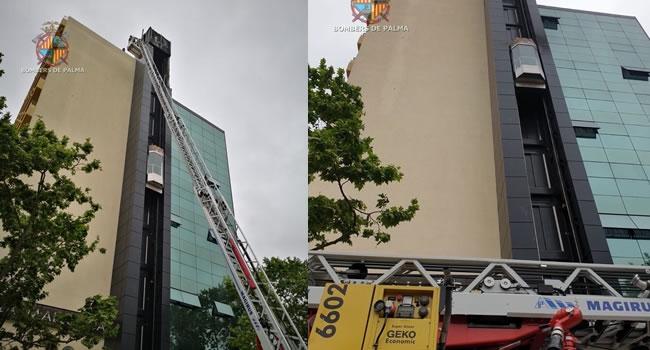 Bomberos de Mallorca acuden en ayuda de los de Palma por falta de una escalera elevada