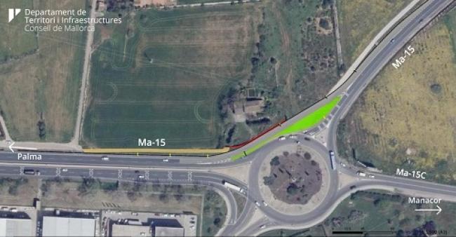La rotonda de entrada a Manacor contará con un carril de acceso directo para los vehículos en sentido Palma