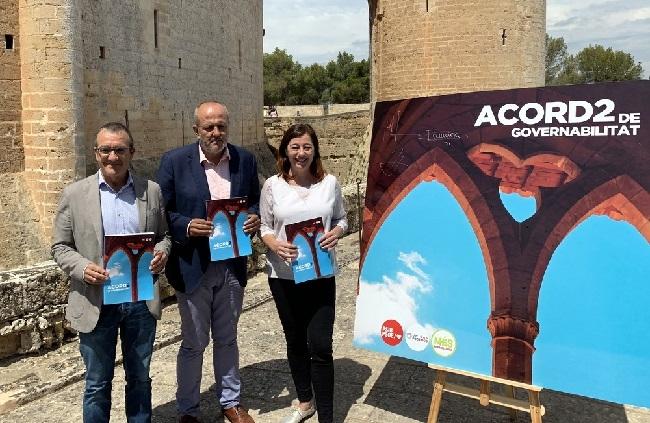 PSIB-PSOE, Unidas Podemos y MÉS para Mallorca firman los Acuerdos de Bellver
