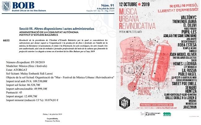 VOX: El Gobierno balear de Armengol financia con 12.000 euros un concierto de Valtonyc en Mallorca