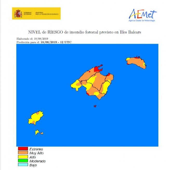 Nivel de riesgo de incendio muy alto y extremo en ciertas zonas
