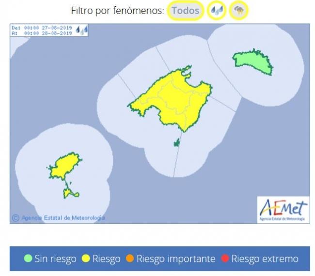 Mañana martes, chubascos y tormentas en Baleares