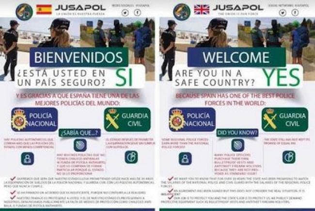 Jusapol informa al turismo de la importancia que tiene la labor de la Guardia civil y Policía nacional