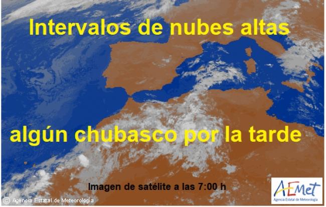 Hoy viernes nubes de evolución que podrían dejar algún chubasco aislado por la tarde