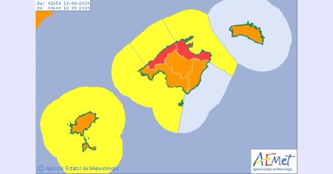 Alerta roja máxima en el norte de Mallorca