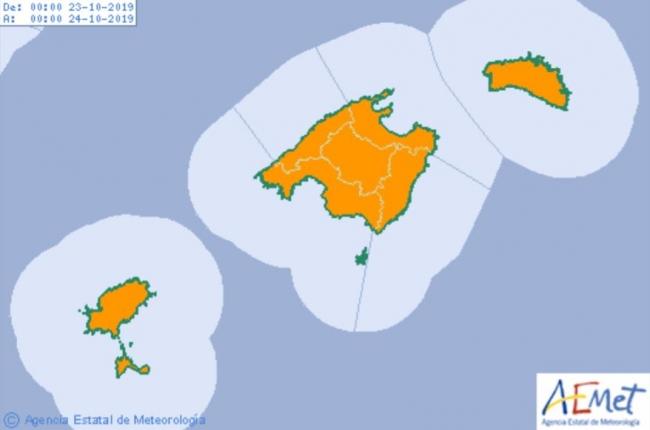 Hoy miércoles continúa la alerta naranja en las islas por tormentas y lluvias