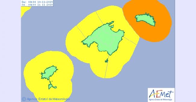 Alerta amarilla en Baleares este fin de semana por lluvias y viento