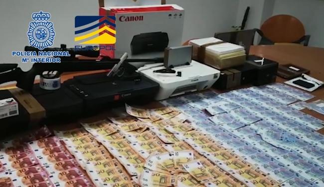 La Policía Nacional desmantela una imprenta clandestina y evita la distribución de 250.000 euros falsos en España y Portugal