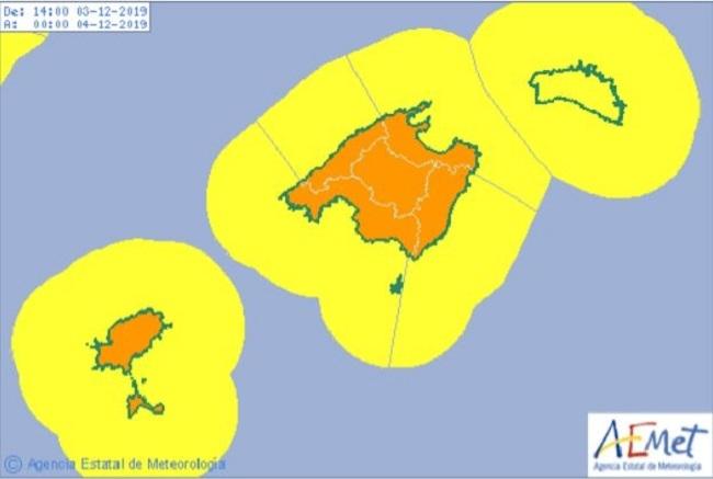 Se esperan tormentas y lluvias intensas en todas las islas a partir de esta noche