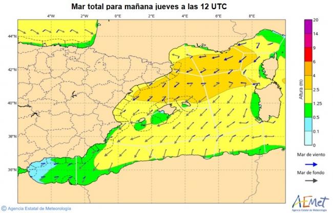 Hoy jueves siguen los chubascos y avisos por vientos fuerza 7 a 8 en norte de Baleares