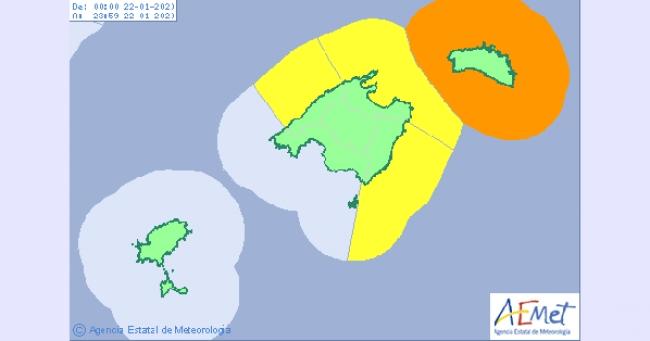 Lluvia en Baleares hoy lunes con viento de hasta 90 Km/h