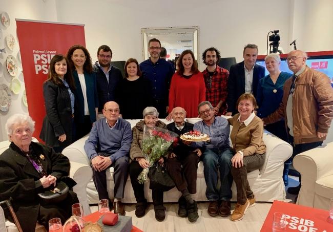 El PSIB-PSOE homenajea Pepe Muniesa, su militante de más edad, por su 100º aniversario