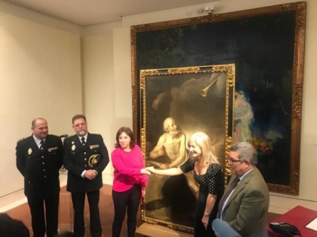 """La Policía Nacional entrega al Museo de Bellas Artes de Sevilla el lienzo recuperado """"San Jerónimo"""" del siglo XVII"""