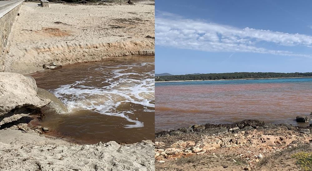 Las obras de un hotel en Sa Coma tiñen de marrón el agua de la playa