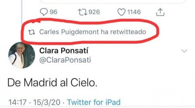 Las redes estallan contra Clara Ponsatí por su comentario en twitter