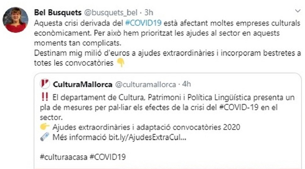 VOX exige el cese de Busquets por dar medio millón al sector cultural en tiempos de alarma