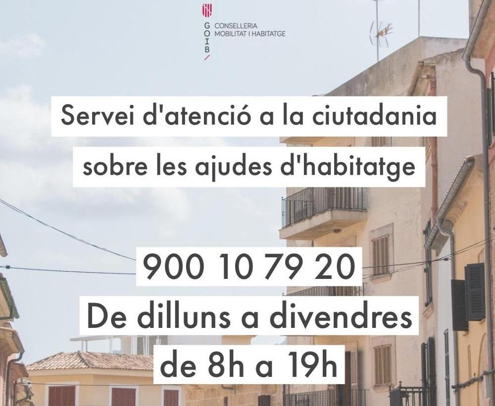 El Govern habilita un servicio telefónico de atención a la ciudadanía sobre las ayudas en materia de vivienda