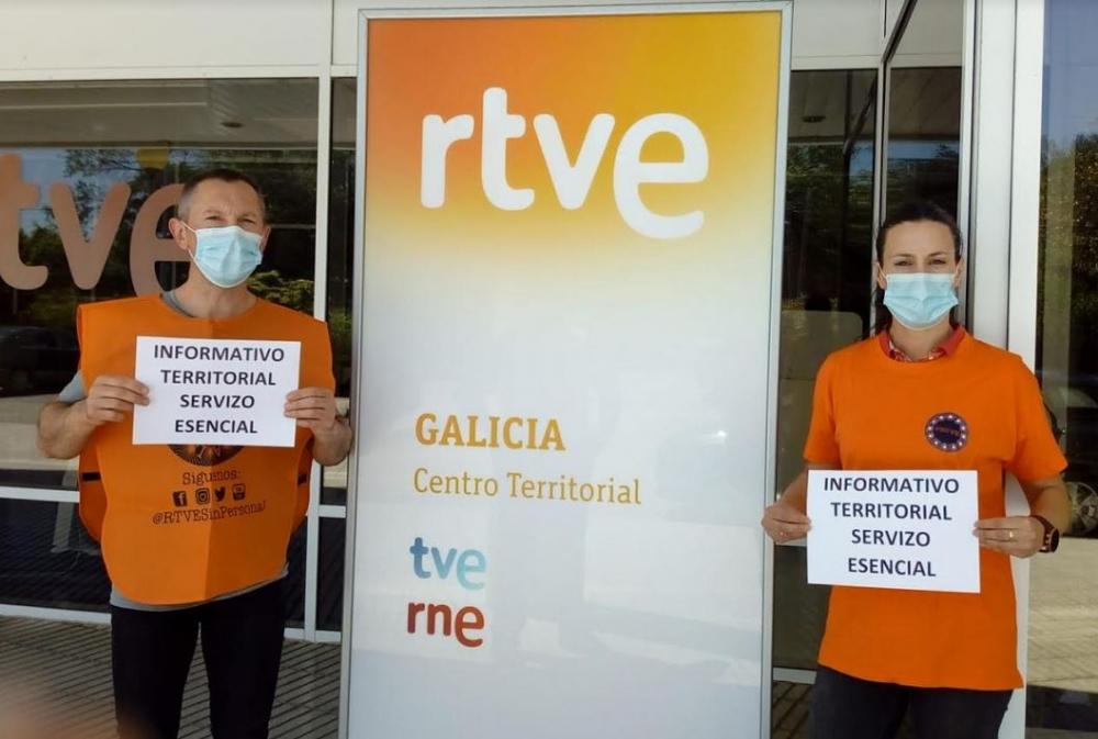 Protesta de los trabajadores de RTVE ante el recorte de la información territorial