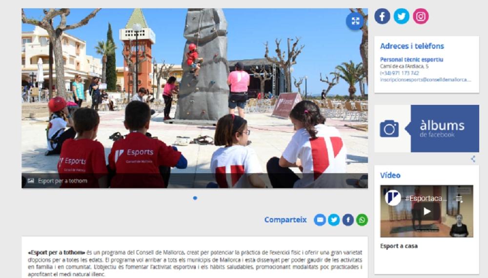 Un nou web d'Esports al servei de la ciutadania de Mallorca