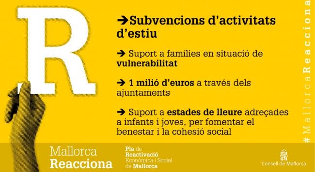 Les ajudes del Consell de Mallorca per a activitats estivals arribaran a famílies de 51 municipis