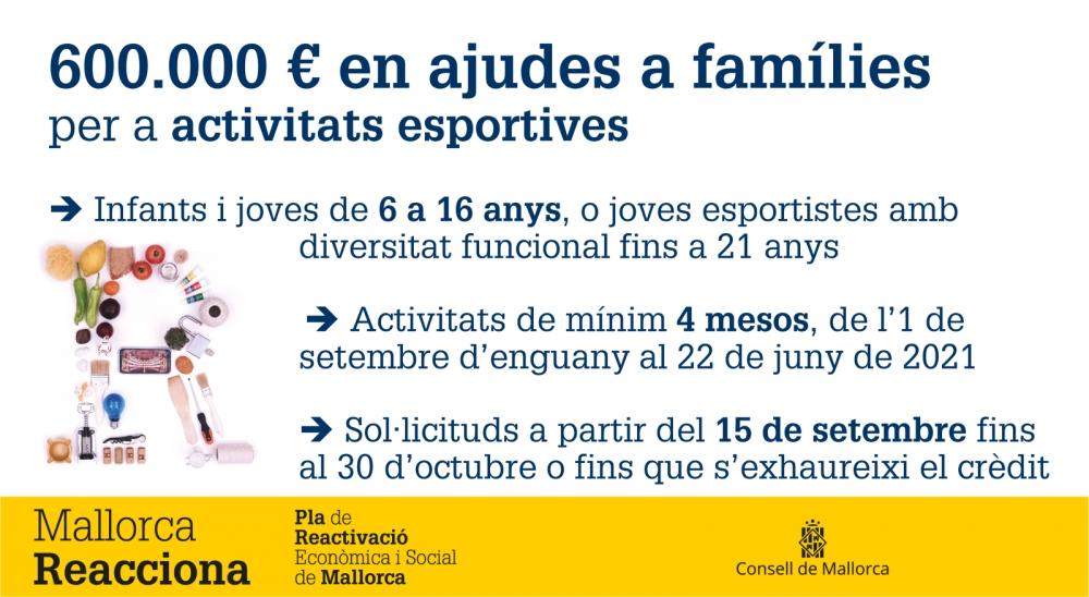 El Consell aportarà 600.000 euros a les famílies per cobrir les despeses d'inscripció a activitats esportives