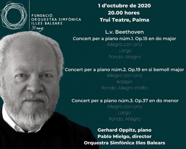La Simfònica inicia la temporada 2020-2021 en el Trui Teatre y en el Auditori de Manacor con los conciertos para piano y orquesta de Beethoven