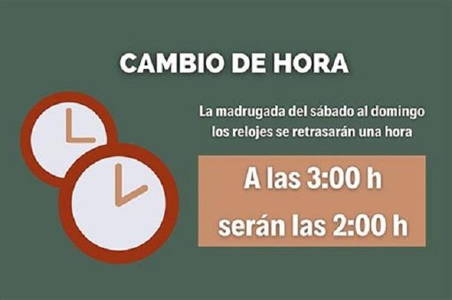La madrugada de este domingo, 25 de octubre, finaliza el horario de verano