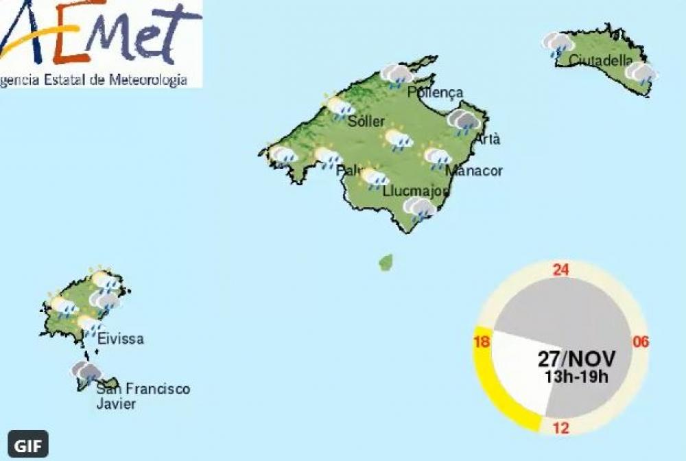 Chubascos y tormentas en Baleares, hoy viernes