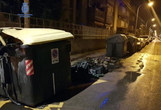 La Policía Nacional detiene a un hombre por dos delitos de incendio en contenedores