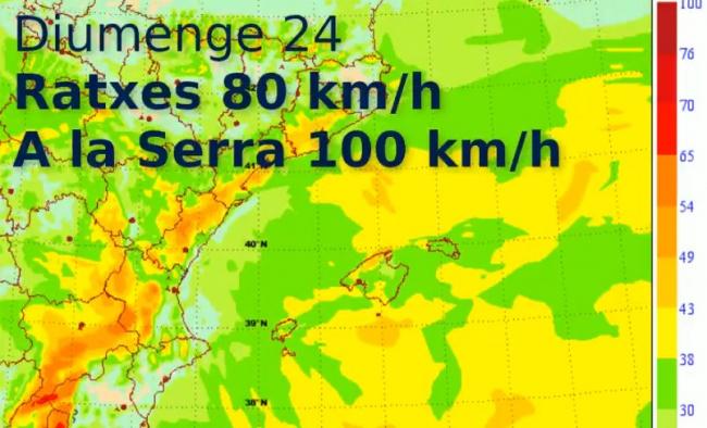 Alerta amarilla por rachas de viento de 80 km/h y en la Serra 100 km/h