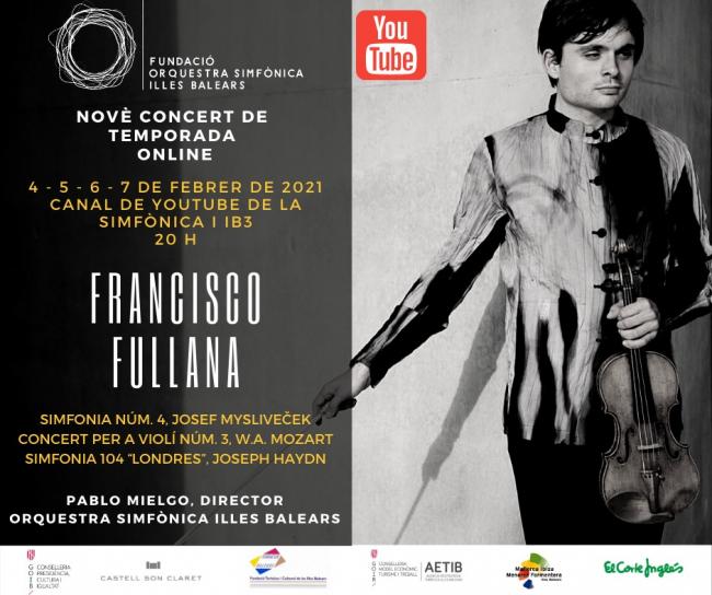 El violinista mallorquín Francisco Fullana protagoniza el noveno concierto de temporada de la Sinfónica