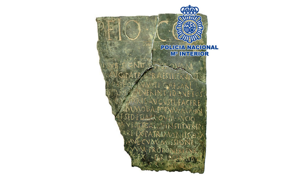 La Policía Nacional recupera en Madrid un documento jurídico único realizado en bronce con más de 2000 años de antigüedad