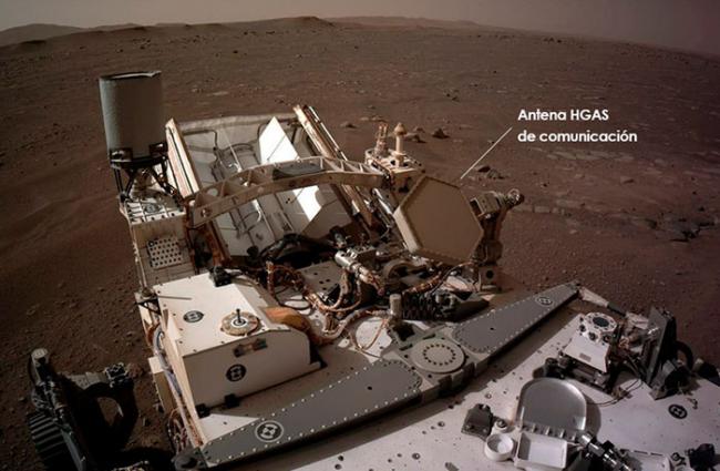 La antena española HGAS del rover Perseverance, a pleno rendimiento en Marte