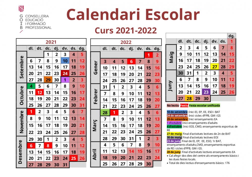 El curso escolar 2021-2022 empezará día 10 de septiembre y acabará el 23 de junio