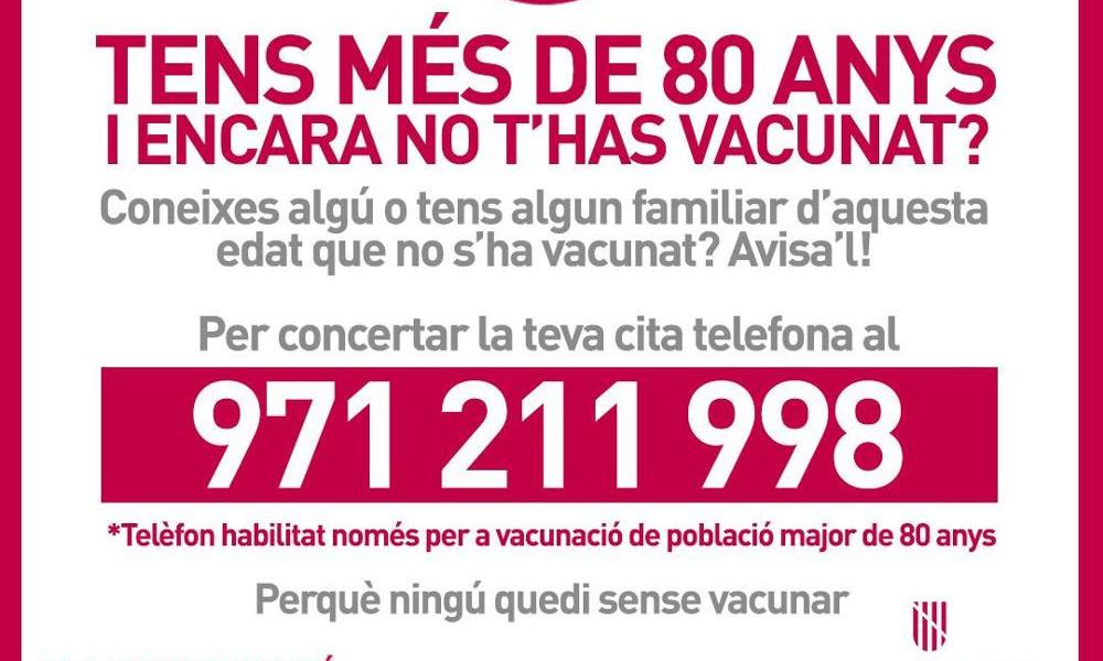 971 211 998, el teléfono para repescar a los residentes no vacunados
