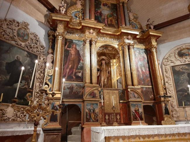 Finalizan las tareas de restauración de los retablos del presbiterio del convento de San Francesc de Paula de Campos