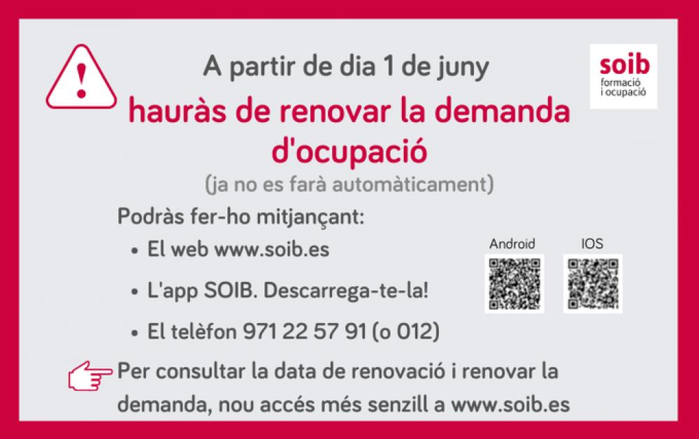 A partir del 1 de junio la demanda de empleo del SOIB se tendrá que volver a renovar personalmente