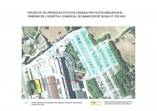 Más de un millón de euros en la instalación de placas fotovoltaicas de autoconsumo en el aparcamiento del Hospital de Manacor