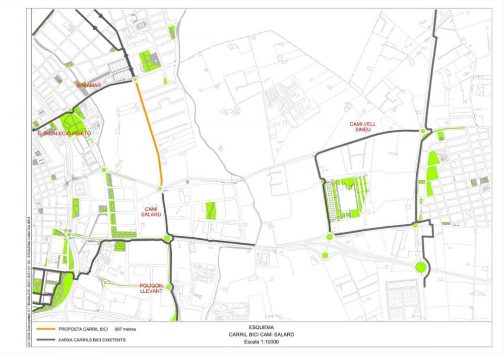 Llum verda al vial cívic per a vianants i ciclistes en el camí Salard