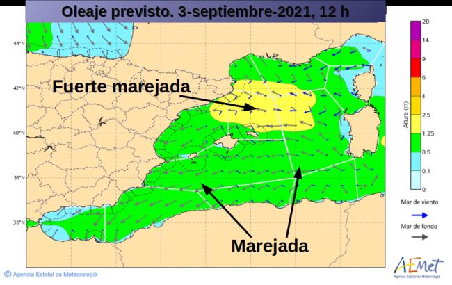 Amplio predominio de la marejada hoy en el Mediterráneo occidental