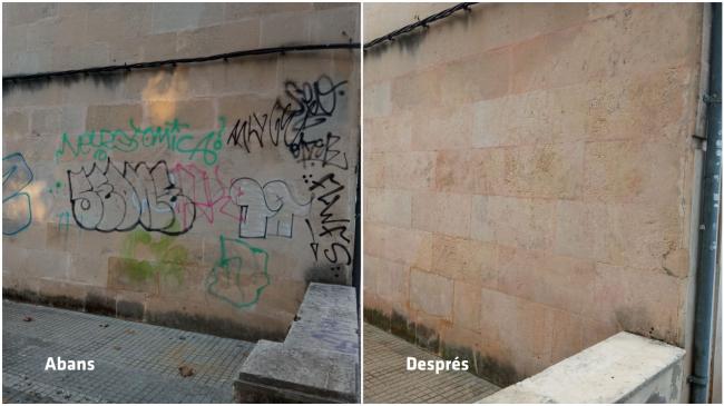 El Ayuntamiento de Palma ejecuta durante el 2021 más de 3600 actuaciones de limpieza de pintadas vandálicas